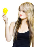Isolated Woman With Idea On White Royalty Free Stock Photo