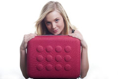 Isolated woman with laptop case Stock Image