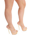 Isolated woman legs with heels. Royalty Free Stock Image