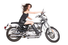 Isolated woman on motorbike Royalty Free Stock Images