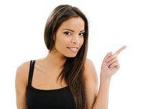 Isolated woman pointing Royalty Free Stock Photo