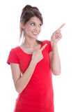 Isolated woman is presenting with forefinger. Stock Photo