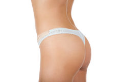 Isolated Woman Rear View (underwear blue). Royalty Free Stock Images