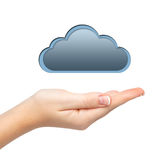 Isolated woman's hand holding a cloud. Connect computers Stock Photos
