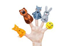 Free Isolated Woman`s Hands With Finger Puppet Stock Photography - 135868582