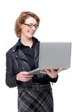 Isolated Woman Smiling Woman Holding Laptop Stock Photography