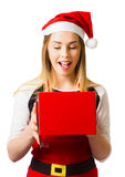 Isolated woman with surprise christmas gift box Royalty Free Stock Photo
