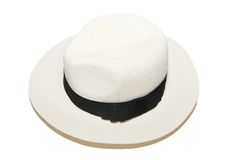 Woman white beach hat Stock Images