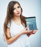 Isolated woman white dress hold count machine. Isolated female Stock Images
