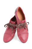 Isolated women red flat oxford shoes Stock Photography