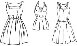 3 Isolated Women's Dress Vectors. A set of 3 isolated black and white s of stylish and fashionable summer dresses with flared skirts and intricate shoulder Royalty Free Stock Photography