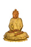 Isolated wood Buddha statue on white Stock Photo