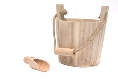 Isolated wooden bucket Royalty Free Stock Photography