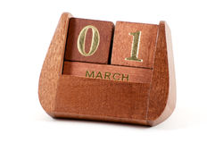 Isolated wooden calendar march Stock Image