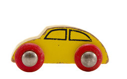 Isolated Wooden Car Toy Stock Photo