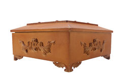 Isolated wooden casket. Royalty Free Stock Photography