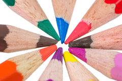Isolated wooden colored pencils Stock Images