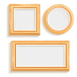 Isolated Wooden Frames Set Royalty Free Stock Photo