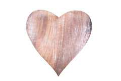 Isolated wooden heart for mothers day on white background Royalty Free Stock Images
