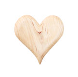 Isolated wooden heart for valentine on white background royalty free stock photos