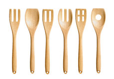 Isolated Wooden Kitchen Utensils White background Royalty Free Stock Image