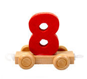Isolated wooden number eight Stock Photo