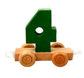 Isolated wooden number four Royalty Free Stock Photography