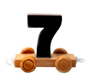 Isolated wooden number seven Royalty Free Stock Images