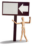 Isolated wooden puppet invite with wood sign Stock Photos