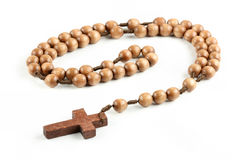 Isolated wooden rosary Royalty Free Stock Photos