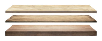 Isolated wooden shelves Royalty Free Stock Photo