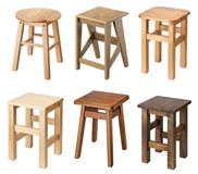 Isolated wooden stools Royalty Free Stock Photography