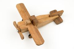 Isolated wooden toy airplane , travel flight transport object on Stock Photos