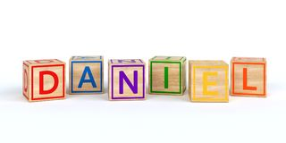 Isolated wooden toy cubes with letters with name daniel. Isolated wooden toy cubes with letters with name Louis 3D Illustration Royalty Free Stock Image