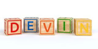 Isolated wooden toy cubes with letters with name devin. Isolated wooden toy cubes with letters with name Louis 3D Illustration Stock Photography
