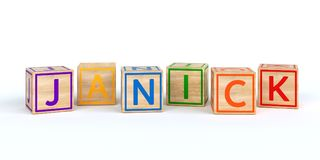 Isolated wooden toy cubes with letters with name janick. Isolated wooden toy cubes with letters with name Louis 3D Illustration Royalty Free Stock Photography