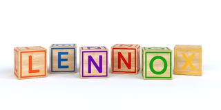 Isolated wooden toy cubes with letters with name lennox. Isolated wooden toy cubes with letters with name Louis 3D Illustration Royalty Free Stock Images