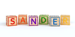 Isolated wooden toy cubes with letters with name sander. Isolated wooden toy cubes with letters with name Louis 3D Illustration Royalty Free Stock Photography