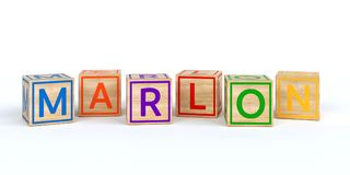 Isolated wooden toy cubes with letters with name marlon. Isolated wooden toy cubes with letters with name Louis 3D Illustration Stock Photos