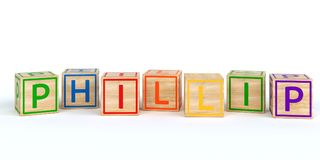 Isolated wooden toy cubes with letters with name phillip. Isolated wooden toy cubes with letters with name Louis 3D Illustration Royalty Free Stock Images