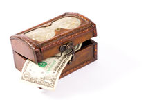 Isolated wooden treasure chest Stock Images