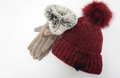 Isolated wool hat and winter women gloves Stock Photo