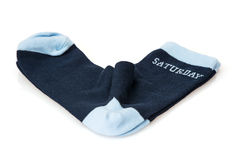 Isolated wool socks with inscription SATURDAY Stock Photography