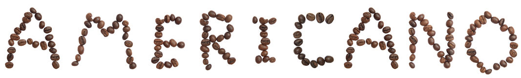 Isolated Word 'AMERICANO' make from coffee bean Stock Photos