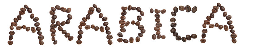 Isolated Word 'ARABICA' make from coffee bean. On white background Royalty Free Stock Images