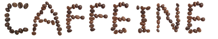 Isolated Word CAFFEINE make from coffee bean Stock Photo
