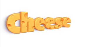 Isolated word CHEESE made of yellow cheddar Stock Images