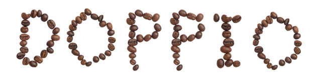 Isolated Word 'DOPPIO' make from coffee bean Royalty Free Stock Photo