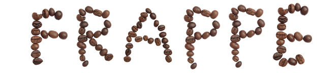 Isolated Word 'FRAPPE' make from coffee bean Stock Images