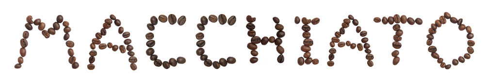 Isolated Word 'MACCHIATO' make from coffee bean Stock Image